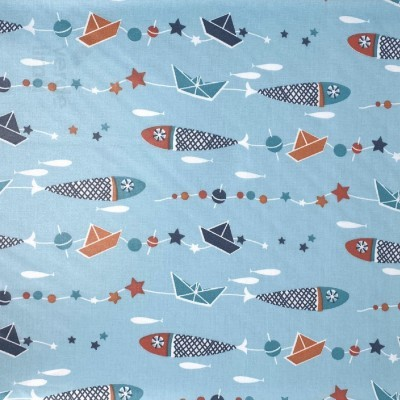 Barcos de papel e sardinhas (plastificado)