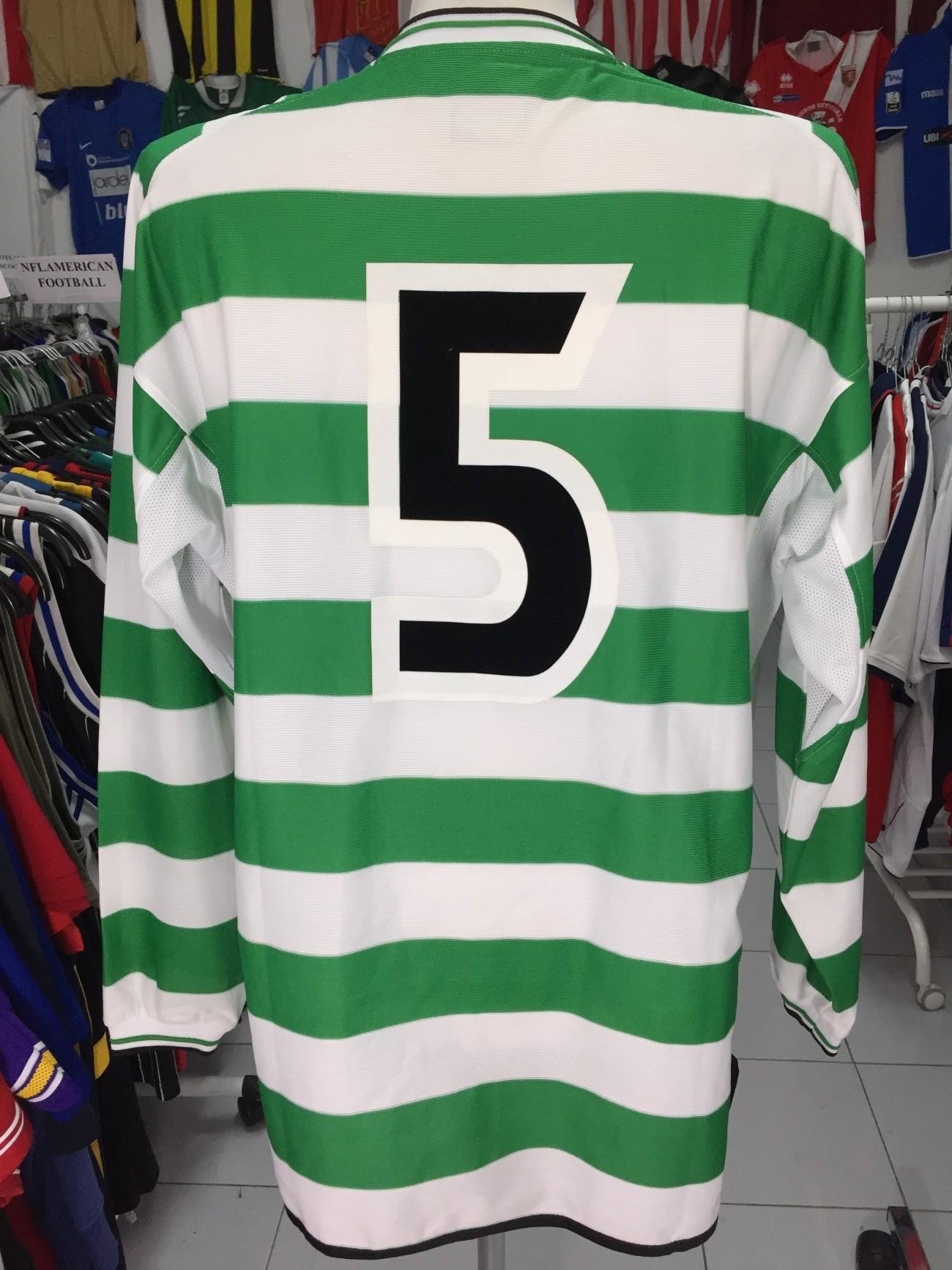 522c6658fa7 Celtic Glasgow FC Home Shirt 2001-02 (XL) #5 Long Sleeve Matchworn ...