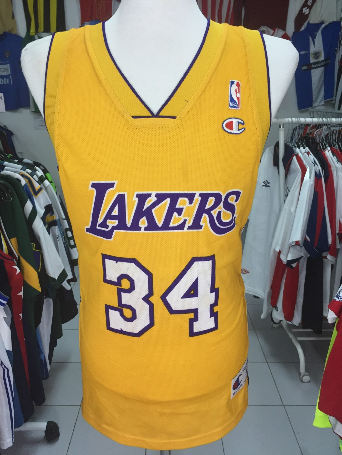 11c1e4647b2 LA Los Angeles Lakers Jersey Shirt (L) #34 O'NEAL NBA Champion ...
