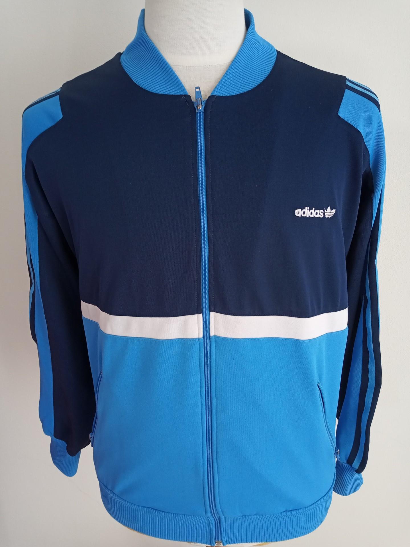 Vintage Track Top Adidas (M) Blue White Jacket Antigo Casaco | Vintage Sports Classic Football Shirts Jerseys Camisolas Futebol NBA