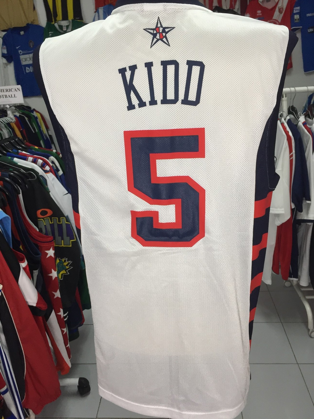 0cf506513e6 USA Basketball Away Shirt Jersey #5 Kidd Camisola de Basquetebol NBA ...