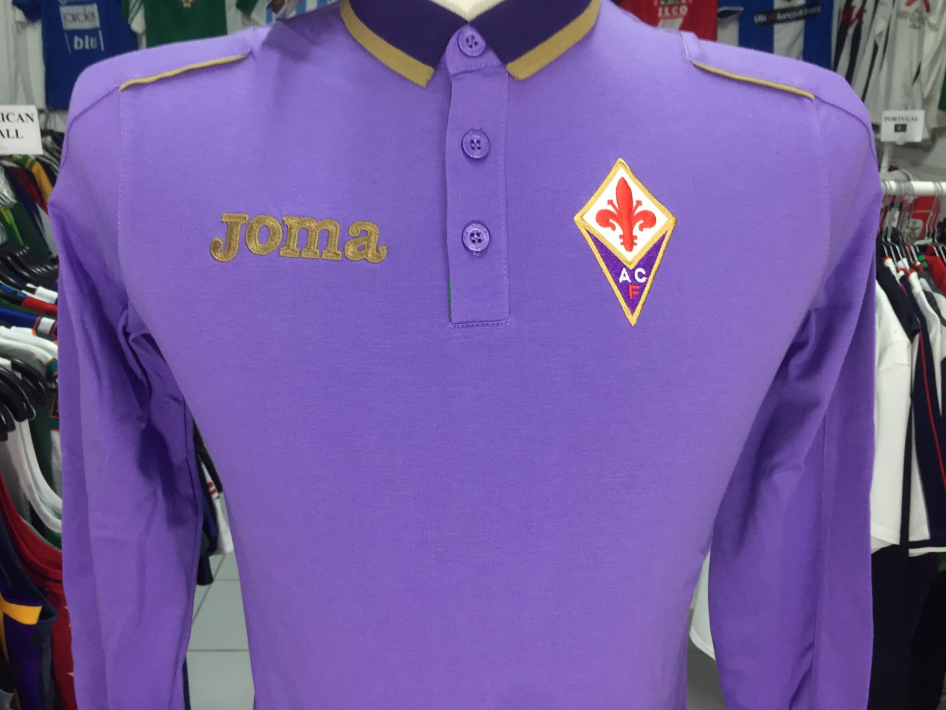 BNWT AC Fiorentina Long Sleeve Polo Shirt Kids