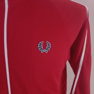 Fred Perry Jacket (M) Red White Track Top