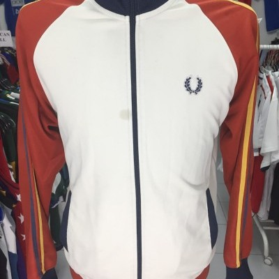 Fred Perry Jacket (M) White Red Track Top