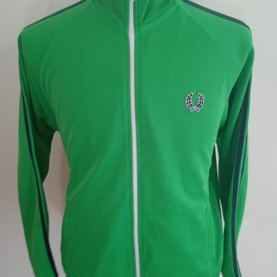 Fred Perry Jacket (L) Green Black Track Top