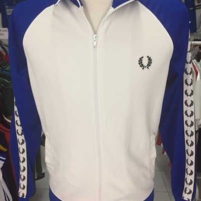 Fred Perry Jacket (M) White Blue Track Top