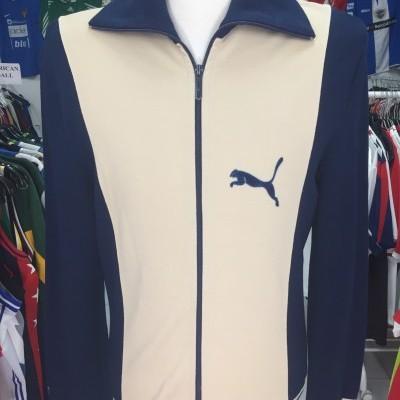 Vintage Track Top Puma 1970s (L) Beige Blue Wool Jacket