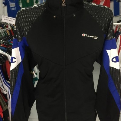 Vintage Track Top Champion (L) Black Blue White Jacket
