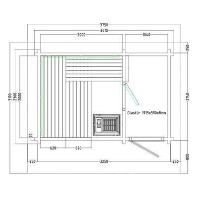 Sauna Exterior Lava 3.40 x 2.30