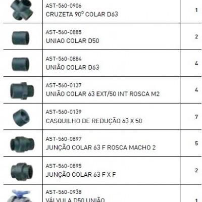 Kit de acessórios de canalização de 63mm
