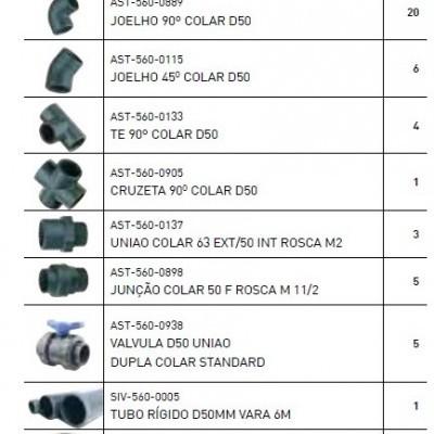 Kit de acessórios de canalização de 50mm